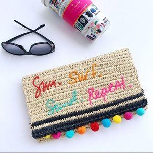 Rebecca Minkoff beach straw clutch